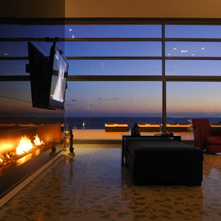 Trendy living room photo in Other with a ribbon fireplace and a wall-mounted tv