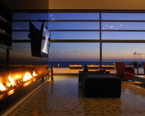 Low Fireplace With Tv | Houzz
