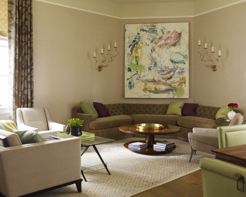 Inspiration For A Contemporary Living Room In New York With Beige Walls