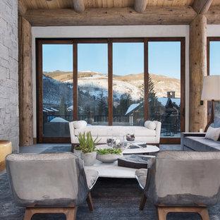 Esempio di un grande soggiorno stile rurale aperto con sala formale, camino classico, pareti grigie, cornice del camino in pietra, nessuna TV e pavimento grigio
