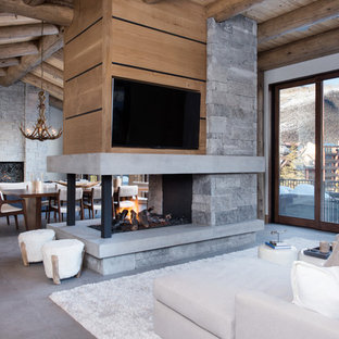 Living room - mid-sized contemporary formal and open concept concrete floor and gray floor living room idea in Denver with white walls, a two-sided fireplace, a stone fireplace and a wall-mounted tv