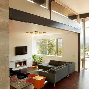 Ejemplo de salón abierto, minimalista, de tamaño medio, con paredes blancas, suelo de madera en tonos medios, chimenea lineal, marco de chimenea de yeso, televisor colgado en la pared y suelo rojo