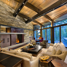 Rustic Living Room by RKD Architects, Inc
