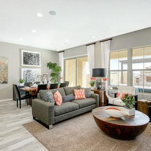 Esempio di un ampio soggiorno minimal aperto con sala formale, pareti grigie, pavimento con piastrelle in ceramica, nessun camino e parete attrezzata