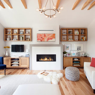 Transitional Medium Tone Wood Floor And Brown Living Room Photo In Other With White Walls