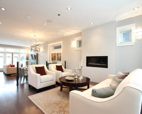 Example Of A Trendy Open Concept Living Room Design In Vancouver With Ribbon Fireplace