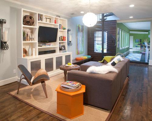 modernes wohnzimmer mit grauen wnden in dallas - Wohnzimmer Ikea Besta