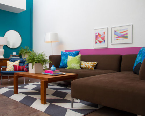 Turquoise And Brown Living Room Design Ideas & Remodel Pictures ...