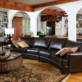 Living room - mid-sized traditional open concept and formal medium tone wood floor living room idea in Grand Rapids with white walls, no fireplace and no tv