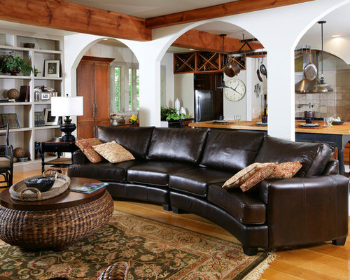 Mid Sized Traditional Open Concept And Formal Medium Tone Wood Floor Living Room Idea In