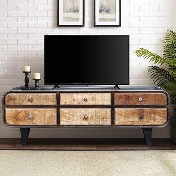 Varnamtown Reclaimed Wood & Iron Industrial TV Media Console