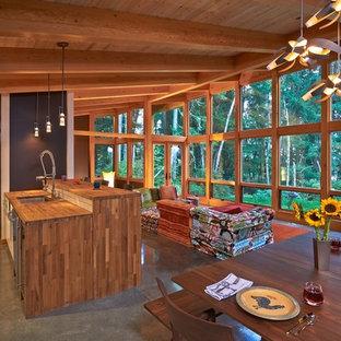 Living room - rustic living room idea in Seattle