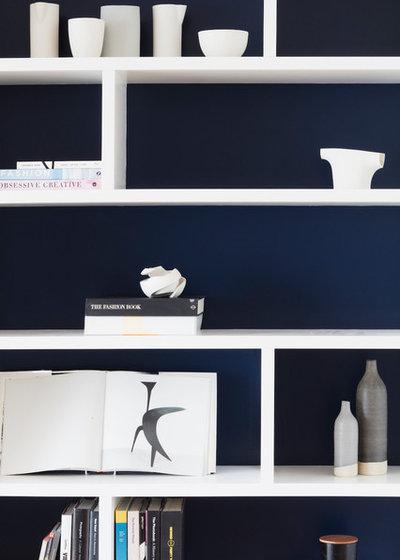 A Open Plan Indigo And White Living Area Houzz