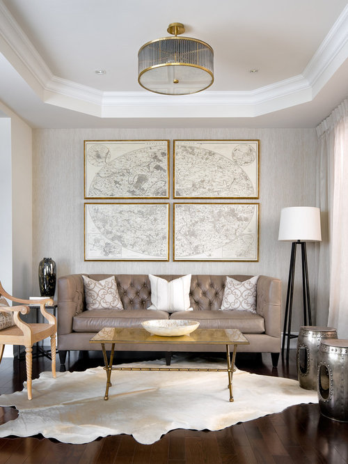 Inspiration For A Contemporary Living Room Remodel In Toronto With Gray  Walls Part 81