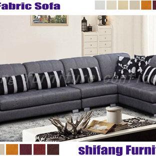 velvet fabric L shape sofa 1+3+chaise with fuctional headrest
