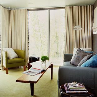 ロサンゼルスの小さいコンテンポラリースタイルのおしゃれな独立型リビング (青い壁、カーペット敷き、暖炉なし、テレビなし、緑の床) の写真