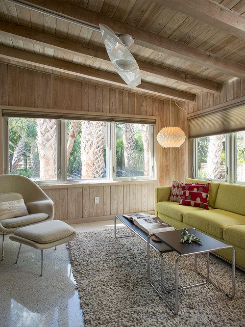 Midcentury living room design ideas renovations photos for Concrete floor living room ideas