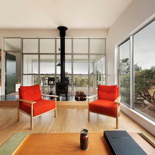 Coastal plywood floor living room photo in Sydney