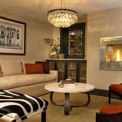 Living room - huge contemporary light wood floor living room idea in Boston with brown walls, no fireplace and no tv
