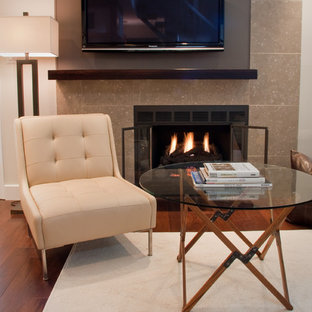 Design ideas for an eclectic living room in Philadelphia with a standard fireplace and a wall mounted tv.