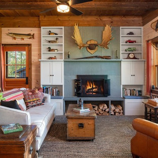 Inspiration For A Rustic Carpeted Living Room Library Remodel In Burlington With Beige Walls
