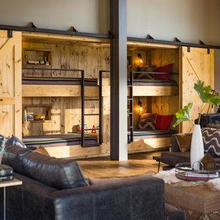Photo of a large modern formal open plan living room in Burlington with brown walls, medium hardwood flooring, no tv and brown floors.
