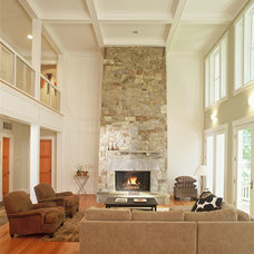 Farmhouse Living Room by Anne Decker Architects, LLC