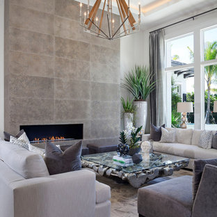 Transitional living room photo in Miami with a ribbon fireplace