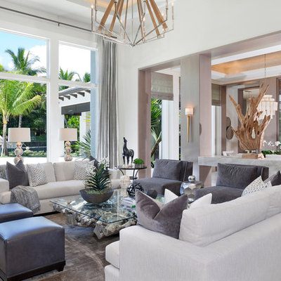 Inspiration for a transitional formal and open concept living room remodel in Miami