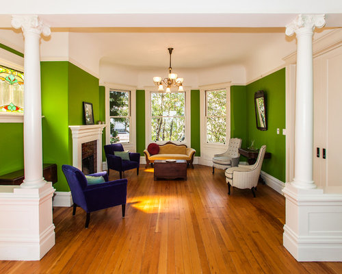 Victorian Living Room Idea In San Francisco With Green Walls