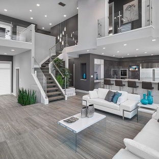 Nice Inspiration For A Contemporary Open Concept Gray Floor Living Room Remodel  In Edmonton With Gray Walls