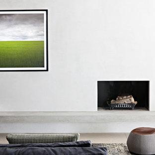 メルボルンの中サイズのヴィクトリアン調のおしゃれな独立型リビング (ライブラリー、グレーの壁、コンクリートの床、薪ストーブ、漆喰の暖炉まわり、内蔵型テレビ、グレーの床) の写真