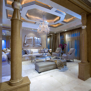 Design ideas for a large victorian formal enclosed living room in Miami with beige walls, porcelain floors, no tv and beige floor.
