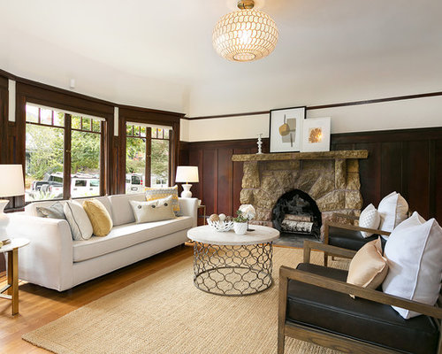 Large Ornate Formal And Enclosed Light Wood Floor Brown Living Room Photo In San
