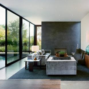 Foto di un soggiorno moderno con sala formale, pareti nere, camino classico, nessuna TV e cornice del camino in intonaco