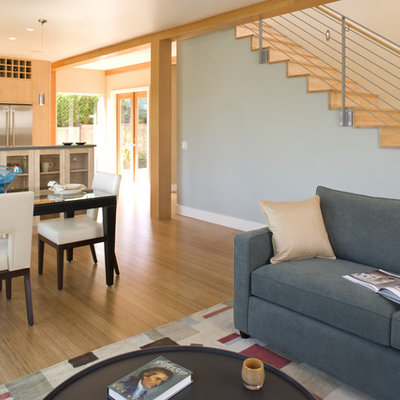 Example of a trendy open concept living room design in Seattle