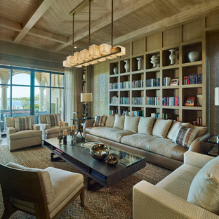 Inspiration For A Mediterranean Enclosed Brown Floor Living Room Library  Remodel In Dallas With Brown Walls