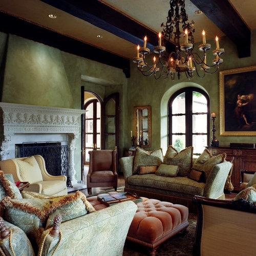 Mediterranean fabric living room design ideas remodels for Mediterranean living room