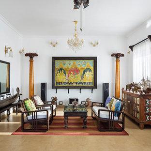 Diseño de salón asiático con paredes blancas y suelo beige