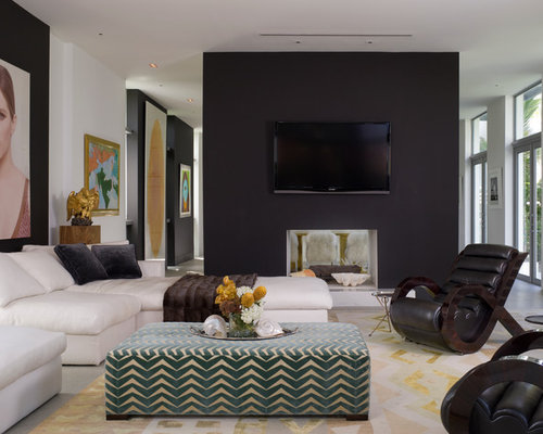 Inspiration For A Contemporary Living Room Remodel In Miami With A  Two Sided Fireplace