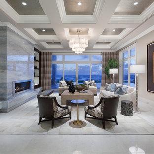 Immagine di un ampio soggiorno design aperto con sala formale, pareti beige, nessuna TV, camino lineare Ribbon e cornice del camino in metallo