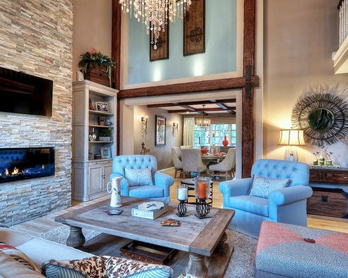 Rustic Open Concept Living Room Idea In Orange County With Blue Walls Ceramic Floors