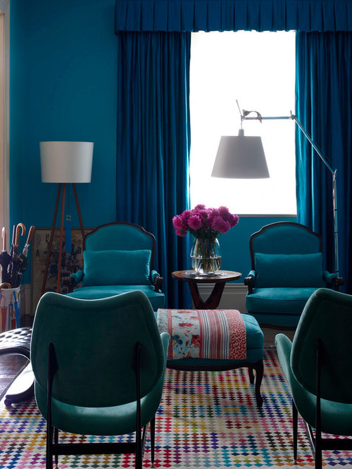 Inspiration For An Eclectic Living Room Remodel In Sydney With Blue Walls Part 79
