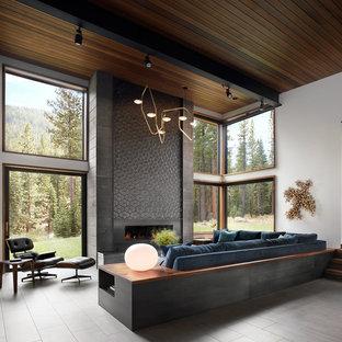 Imagen de salón para visitas actual, extra grande, sin televisor, con paredes blancas, suelo de baldosas de porcelana, chimenea lineal, suelo gris y marco de chimenea de metal