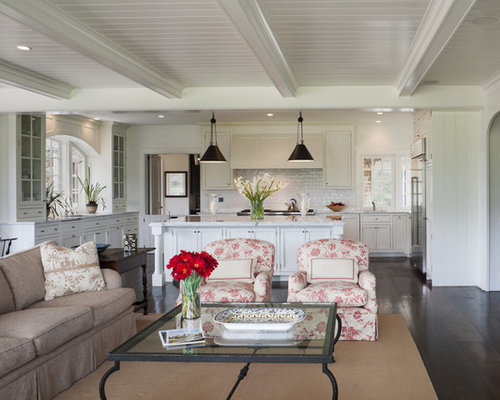 Example Of A Large Classic Open Concept And Formal Dark Wood Floor Living Room Design In