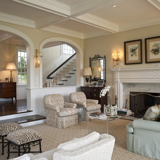 Beau Example Of A Large Classic Formal And Open Concept Carpeted Living Room  Design In Philadelphia With