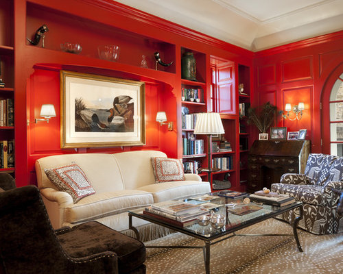 Mid Sized Elegant Open Concept Carpeted Living Room Library Photo In Philadelphia With Red Walls