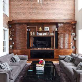 Inspiration for a modern living room remodel in New York with white walls and a media wall