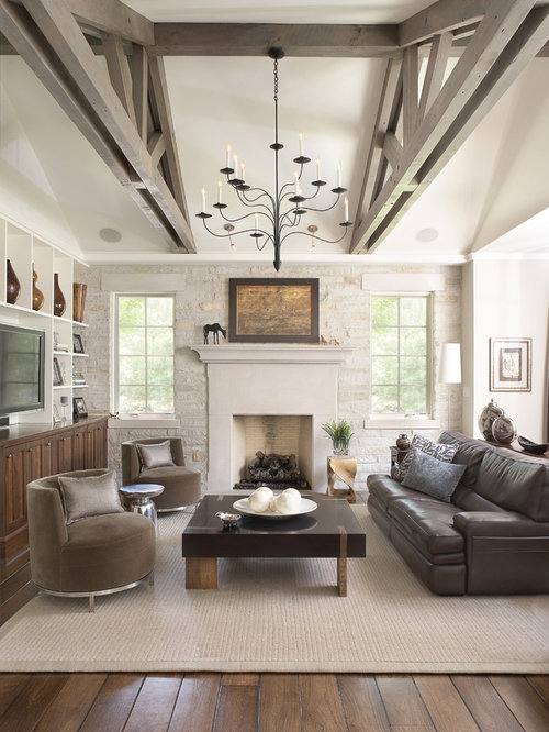 Rustic living room design ideas remodels photos with - Dark hardwood floor living room ideas ...