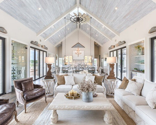 Cottage Chic Formal And Open Concept Dark Wood Floor Living Room Photo In  Austin